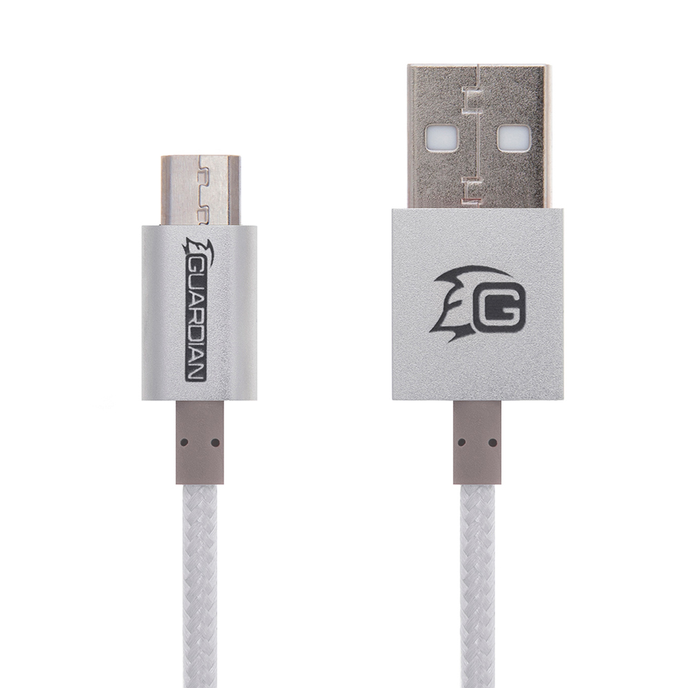 "Guardian Micro USB Καλώδιο 2M ""Premium Braided Series""(Ασημί)"