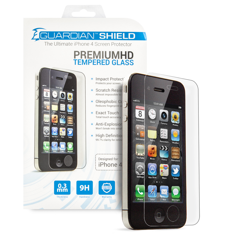 Guardian Shield Premium  HD Tempered Glass for iPhone 4