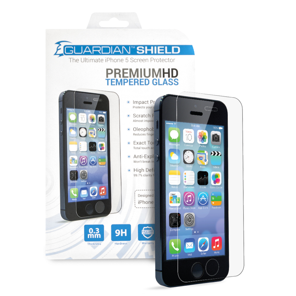Guardian Shield Premium  HD Tempered Glass for iPhone 5/5c/5s