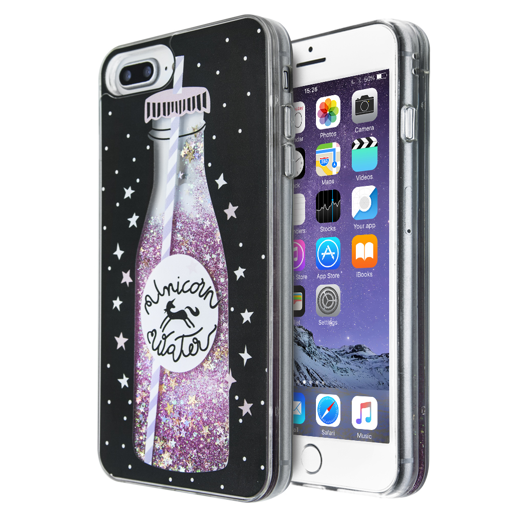 Θήκη iCase Bottle Liquid Glitter για iPhone 7 Plus / 8 Plus (Διάφανο)