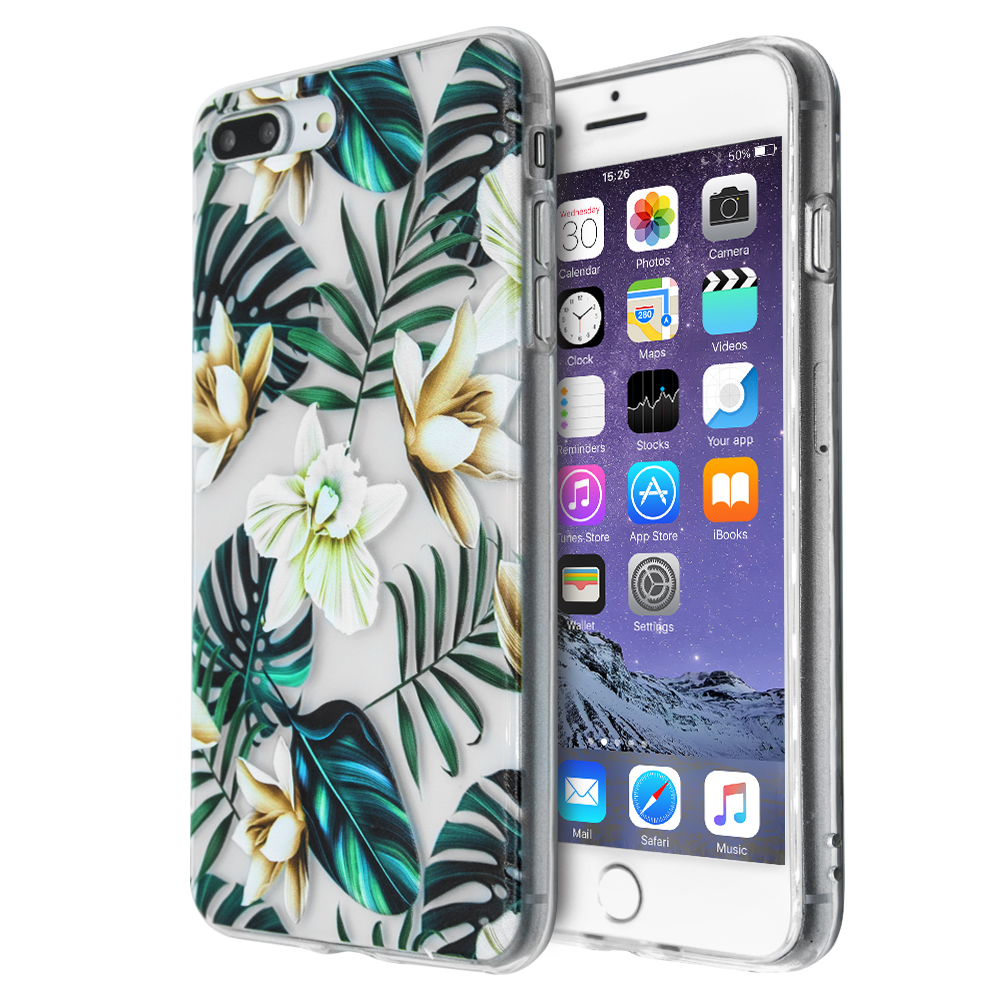 Θήκη Merge Flowers Silicone για iPhone 7 Plus /8 Plus (Διάφανο)