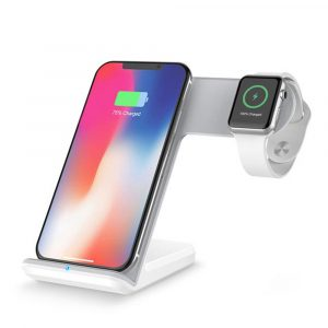 FoneFX 2 in1 Fast Wireless Charging Stand (3 Coils 10W 7.5W 5W) for Apple Watch/iPhone X/8/Galaxy S9/S8/s7Edge